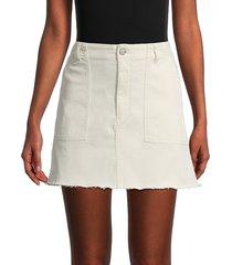 boyish women's flat front rough hemmed mini skirt - white - size 23 (00)