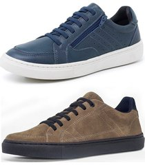 kit 2 sapatenis sandalo soft azul e basic kaki