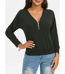 half zip v neck drop shoulder sweatshirt