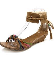sandali con zeppa in pizzo con perline arcobaleno in nappa