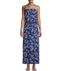 chambray blossom maxi coverup dress