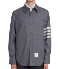 men's thom browne four-bar slim fit wool shirt, size 3 - grey