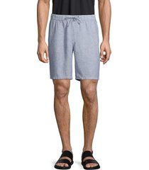 saks fifth avenue men's drawstring linen shorts - norse blue - size l