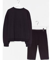 womens all together now sweatshirt and biker short set - black