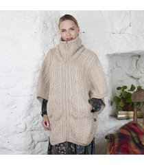 irish aran batwing jacket beige small/medium