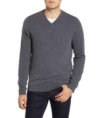 men's big & tall nordstrom cashmere v-neck sweater, size lt - grey