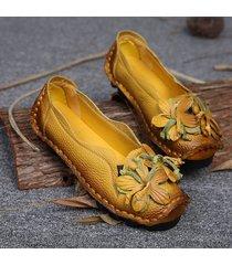 socofy loafers mocassino comodo manofatto in pelle vera a fiore a tacco basso scarpe casual