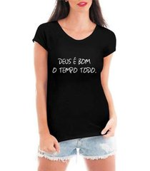 blusa criativa urbana deus é bom religiosa t-shirt feminina - feminino