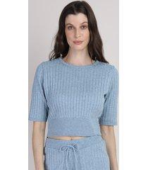 blusa de tricô feminina mindset cropped canelada manga curta decote redondo azul claro