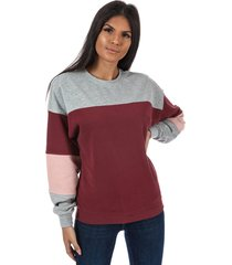 only womens gigi colourblock crew sweatshirt size 6-8 in red