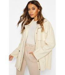 utility pocket synch waist cotton twill jacket, ecru