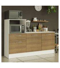 balcão madesa onix 180 cm 3 portas 1 gaveta e nicho para forno branco/rustic cor:branco/rustic
