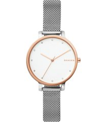 skagen women's hagen stainless steel mesh bracelet watch 34mm
