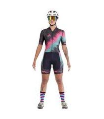 macaquinho feminino compressão proteção uv ciclismo macio preto/rosa g preto