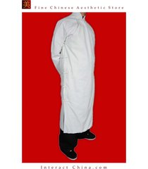 100% cotton white kung fu martial arts tai chi long coat robe tailor custom made