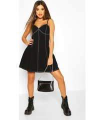 contrast stitch denim skater dress, black
