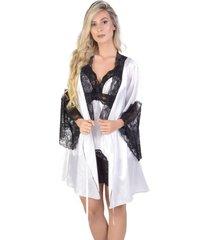 robe curto  yasmin lingerie perola branco com preto - branco - feminino - dafiti