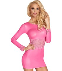 roze wetlook jurkje nila (s)