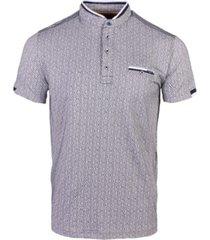 all-over geometrisch print t-shirt met opstaande kraag