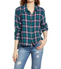 men's bp. be proud by bp. gender inclusive plaid flannel button-up shirt, size x-small - green