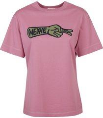 chloé weave hand print logo t-shirt