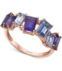 effy multi-gemstone (2-1/2 ct. t.w.) amethyst, tanzanite & diamond accent statement ring in 14k rose gold