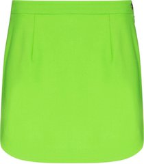 the attico neon-green virgin wool mini skirt