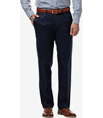 haggar men's premium no iron khaki straight-fit stretch flat-front pants