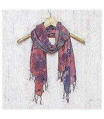 tie-dyed cotton scarf, 'fantastic colors' (thailand)