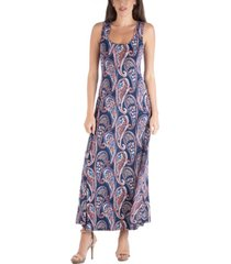 24seven comfort apparel sleeveless paisley a-line maxi dress