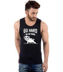 regata masculina algodã£o go hard or go home pug - preto - masculino - dafiti