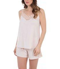 pyjama's / nachthemden selmark clarisse peach 2-delige pyjama set