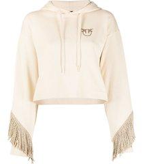 pinko rope tassel trim hoodie - neutrals