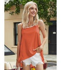 camiseta con dobladillo asimétrico con ribete de encaje naranja