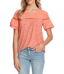 women's cece cascading florets ruffle sleeve knit top, size xx-small - coral