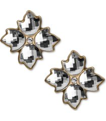patricia nash gold-tone crystal floret button earrings
