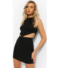 gerecyclede top met halter neck en zakdoek zoom, black