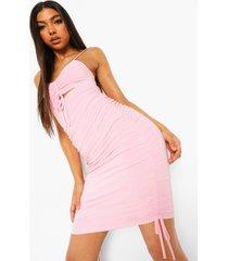 tall strakke geplooide mini jurk met dubbele lagen, light pink