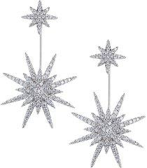eye candy la women's luxe silvertone & crystal dangle earrings