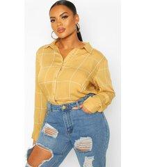 plus grid flannel oversized shirt, camel