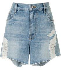 frame le ultra baggy high-rise shorts - blue