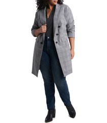 1.state ruched sleeve longline blazer, size 16w in rich black at nordstrom