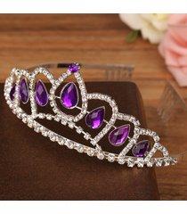 sposa in cristallo violaceo di cristallo di diamante corona re regina cappella di festa nuziale diadema con pettine