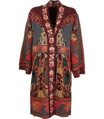jacquard coat with pegaso buttons