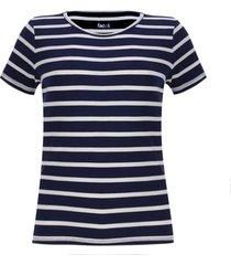 camiseta m/c a rayas blancas color azul, talla m
