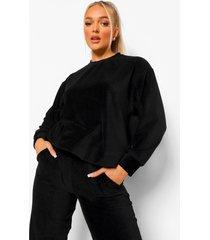 petite geribbelde velours oversized sweater, black