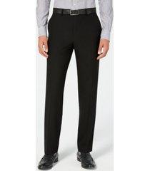 chaps men's classic-fit stretch wrinkle-resistant black solid suit pants