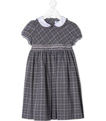 siola check print peter pan collar dress - grey
