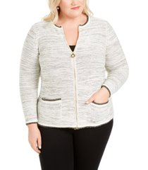 belldini plus size metallic zip-front cardigan sweater