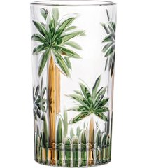 conjunto 6 copos altos cristal palm tree handpaint 330ml